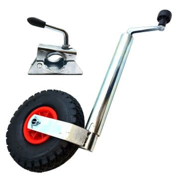 HEAVY DUTY 48mm PNEUMATIC JOCKEY WHEEL with CLAMP caravan trailer container